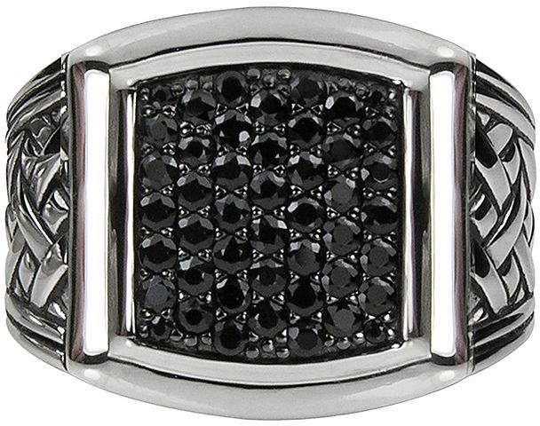 JCPenney FINE JEWELRY Mens Genuine Black Sapphire Basketweave Sterling Silver Ring