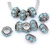 Divine Beads Turquoise Coloured Rhinestone Spacer Charm Bead fits Pandora, Biagi, Tedora, Chamilia, Bacio, Troll and other European style bracelets