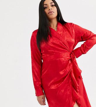 Pretty Darling Plus jacquard satin wrap dress