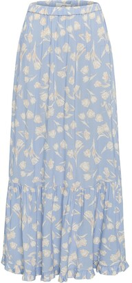 Peony Swimwear Tulip Print Flared Maxi Skirt