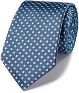 Charles Tyrwhitt Sky and white silk classic Oxford spot tie