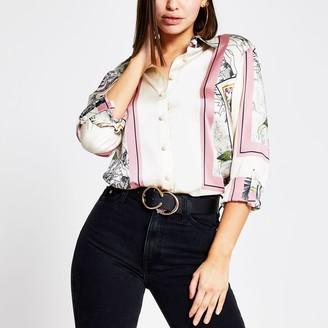 River Island Womens Pink printed long sleeve boyfriend fit shirt