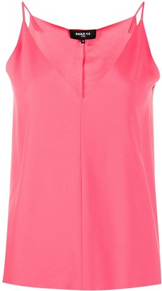 Paule Ka Satin-Back Crepe Top