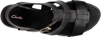 Clarks Maritsa95 Glad Leather Platform Wedge Sandal - Black