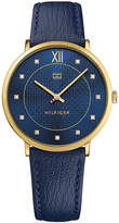 Tommy Hilfiger Women's Navy Leather Strap Watch 40mm