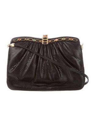 Judith Leiber Embellished Karung Evening Bag Black