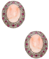 Silver, Coral, Ruby & 1.55 Total Ct. Diamond Oval Stud Earrings