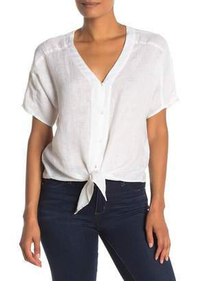 Vince Camuto Linen Tie Hem Button Down Shirt
