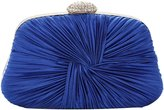Tina Women's Pleated Crystal Satin Chain Strap Evening Party Clutch Purse