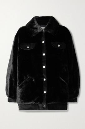 FAZ NOT FUR Velvet-trimmed Faux Fur Jacket - Black