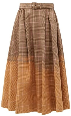 MSGM Faded Checked Cotton Midi Skirt - Beige Multi
