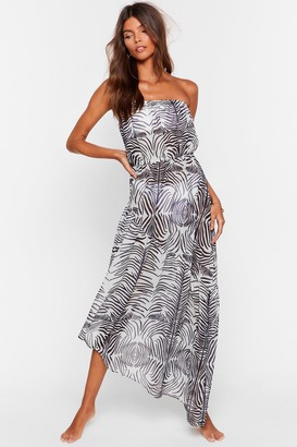 Nasty Gal Womens Neigh Time Like the Present Zebra Cover-Up Dress - Black - 6