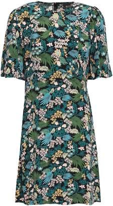 Maje Floral-print Crepe De Chine Mini Dress