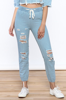 Hot & Delicious Distressed Denim Jogger Pants