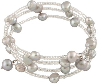 Freshwater Cultured Pearl Triple Row Coil Bangle Bracelet
