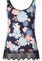Dorothy Perkins Womens Navy Floral Crochet Vest