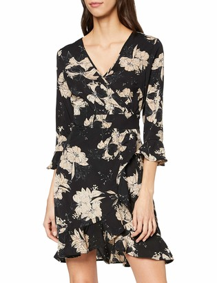 Yumi Women's Floral Wrap Front Skater Dress Casual