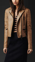 Burberry Fitted Leather Biker Jacket