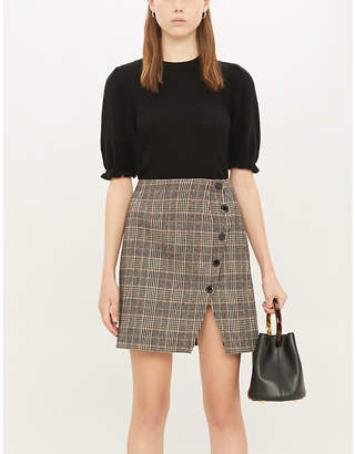Sandro Check wool and cotton-blend mini skirt