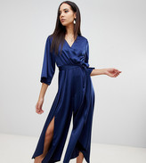 Asos DESIGN Tall jumpsuit with wrap front and hanky hem in satin