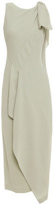 Roland Mouret Bow-detailed Draped Wool-crepe Maxi Dress