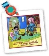 The Great 3dRose LLC qs_2304_1 Londons Times Funny Medicine Cartoons - Grandpa Prozac And Depression - Quilt Squares