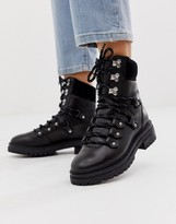 Asos DESIGN Artistry premium leather hiker boots in black