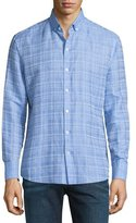 Zachary Prell Tobias Plaid Linen-Blend Long-Sleeve Sport Shirt, Light Blue