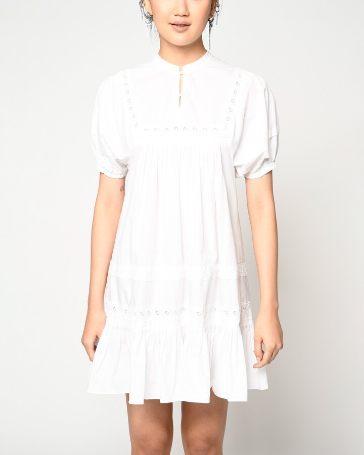 Thumbnail for your product : Nicole Miller Cotton Poplin Embroidered Mini Dress