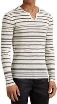 John Varvatos Collection Linen Stripe Split Crewneck Sweater