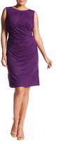 London Times Pleated Faux Suede Sheath Dress (Plus Size)