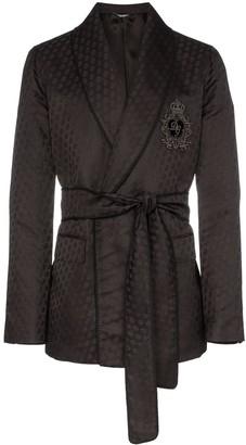 Dolce & Gabbana logo-embroidered silk jacquard jacket