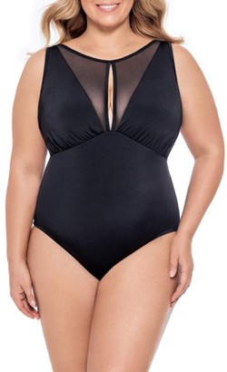 Time and Tru Women's Plus Size Mesh Insert High Neck One Piece Swimsuit