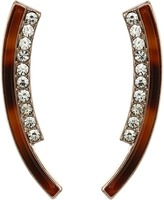 GUESS Bent Double Stick with Faux Tortoise and Crystal Accents Earrings