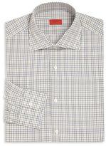 Isaia Grey & Tan Plaid Button-Up