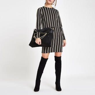 River Island Petite brown stripe long sleeve bodycon dress