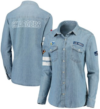 Unbranded Women's WEAR By Erin Andrews Denim Los Angeles Chargers Long Sleeve Button-Up Shirt