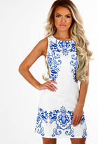 Pink Boutique Baroque Charm White and Blue Printed Shift Dress