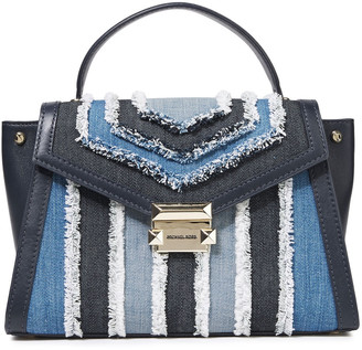 MICHAEL Michael Kors Frayed Denim And Leather Shoulder Bag