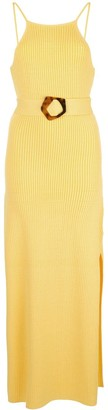 Nicholas ribbed knit belted maxi dress