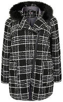 Yours Clothing YoursClothing Plus Size Womens Top Check Boucle Coat Faux Fur Trim Hood