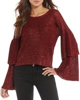 Gianni Bini Roni Tiered Ruffle Bell Sleeve Sweater