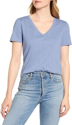 Vince Camuto Studded V-Neck Cotton Blend T-Shirt