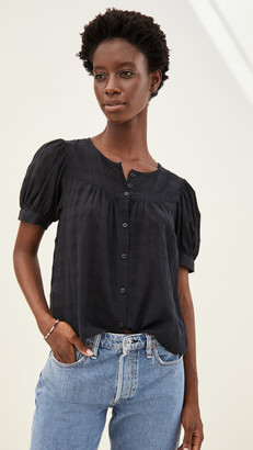 Madewell Puff Sleeve Yoke Button Front Top