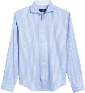 Bugatchi Shaped Fit Grid Print Button-Up Shirt