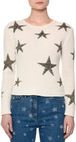 Valentino Star-Intarsia Cropped Sweater, Ivory/Gold