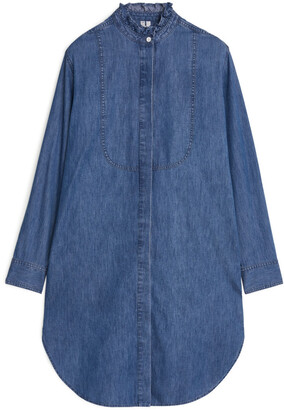 Arket Frill-Collar Denim Dress