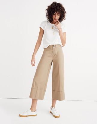Madewell Langford Wide-Leg Crop Pants in Light Latte