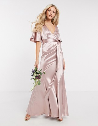 ASOS DESIGN Bridesmaid satin kimono sleeve maxi dress with panelled skirt and belt in Pink