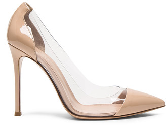 Gianvito Rossi Patent Leather Plexi Pumps in Nude | FWRD